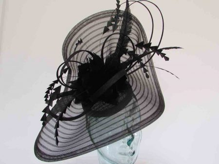 Pleated crin fascinator with feathered flowers in black