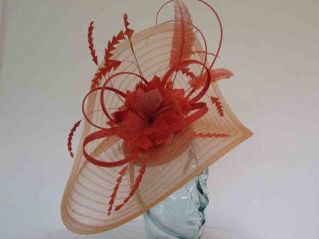Pleated crin fascinator with feathered flowers in bright orange