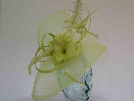 Pleated crin fascinator with feathered flowers in zest