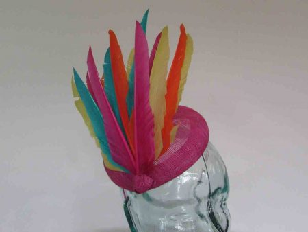 Pink pillbox fascinator with multicoloured feathers