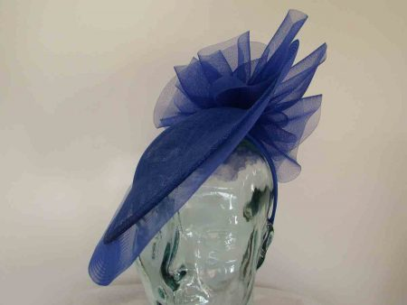 Hatinator with crin brim and bow detail in cobalt blue
