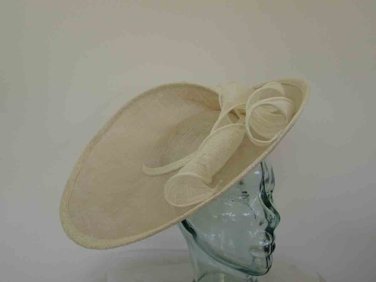 Large three quarter brim hatinator in champagne and ivory