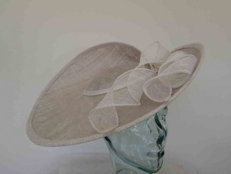 Large three quarter brim hatinator in  pearl silver and white