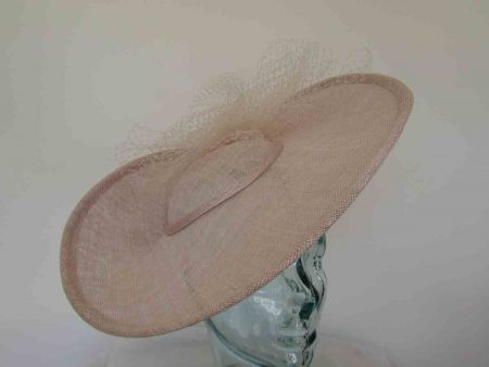 Three quarter brim hatinator with netting in pink sorbet