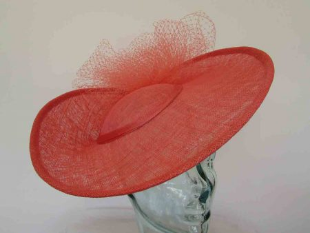 Three quarter brim hatinator with netting in tangerine