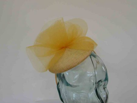 Pillbox fascinator with crin twist in sunflower yellow