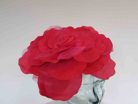 Large single flower fascinator in carmine