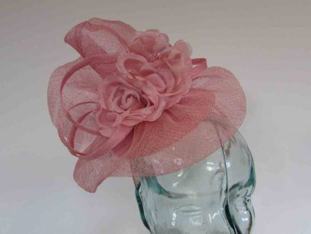 Pillbox base fascinator with flower detail in confetti pink
