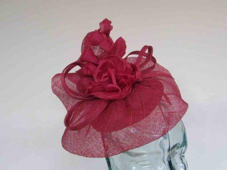 Pillbox base fascinator with flower detail in samba pink