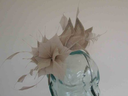 Triple sinamay leaves fascinator in almond