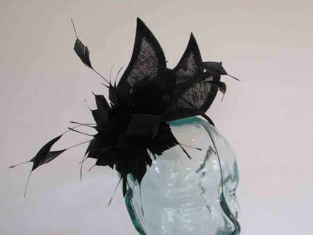 Triple sinamay leaves fascinator in black