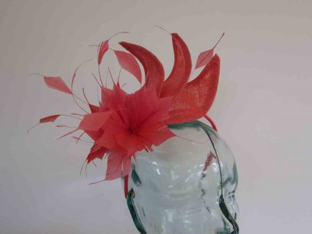 Triple sinamay leaves fascinator in tangerine