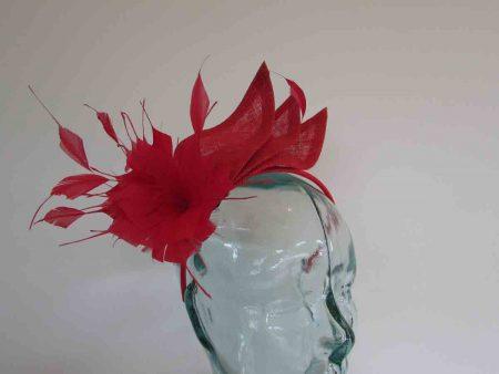 Triple sinamay leaves fascinator in tulip