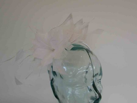 Triple sinamay leaves fascinator in white