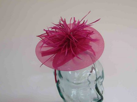 Chiffon fascinator  with lily flower in magenta