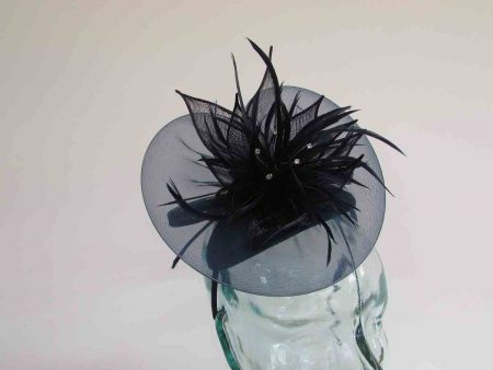 Chiffon fascinator  with lily flower in navy
