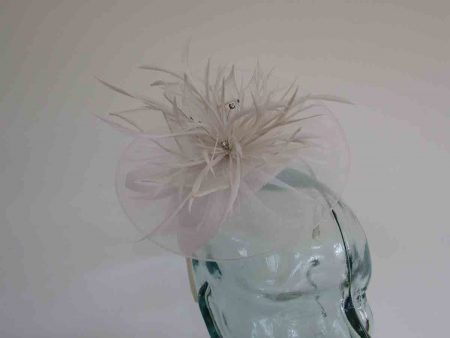 Chiffon fascinator  with lily flower in white
