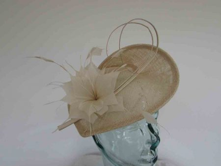 Teardrop fascinator wth double quill in champagne