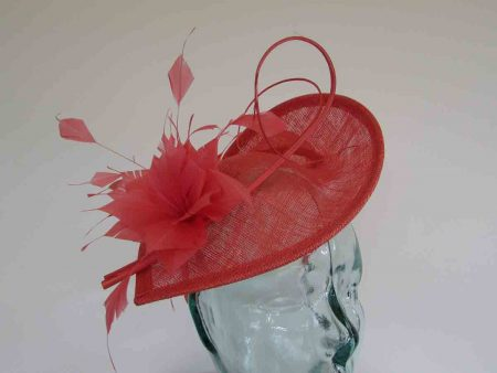Teardrop fascinator wth double quill in tangerine
