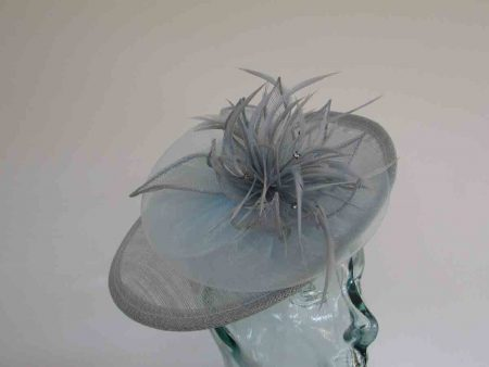Small hatinator with chiffon flower in baby blue