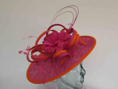 Teardrop hatinator in fuschia pink with orange trim