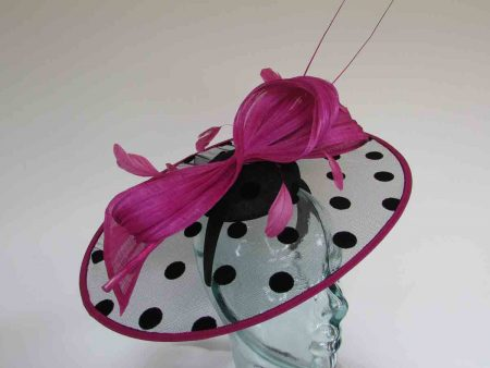 Spotted net disc fascinator in black and magenta