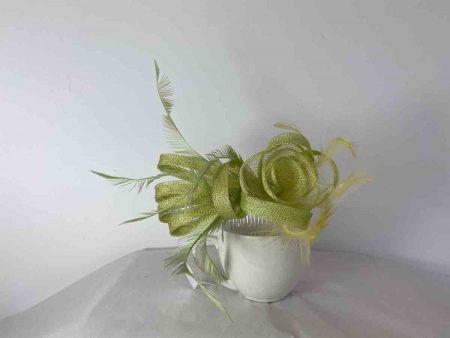 Sinamay flower fascinator light green