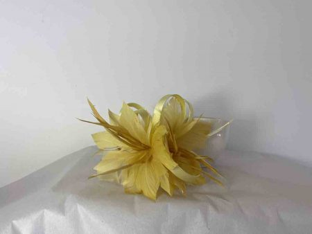 Feather flower fascinator yellow
