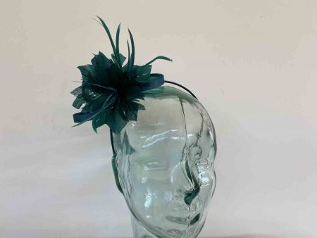 Satin fascinator with feathers flower in teal