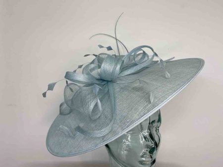 Oval hatinator with sinamay bow in baby blue