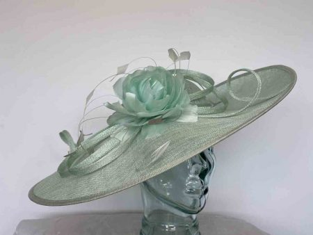 Sinamay hatinator with feathered flower in mint sorbet