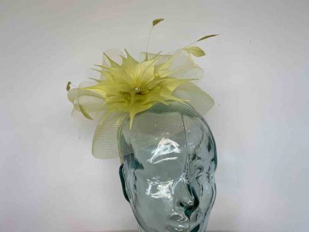 Crin fascinator with feathered flower in zest