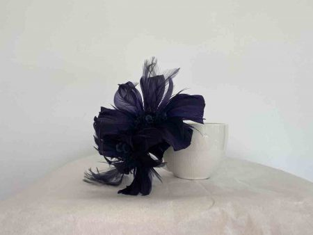 Feathered fascinator in navy