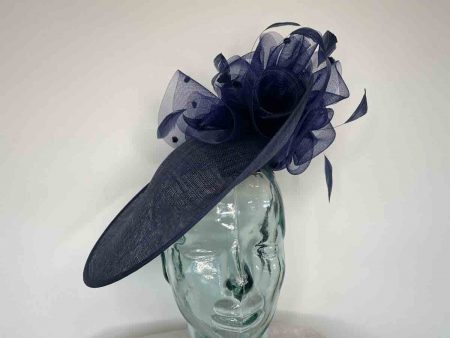 Sinamay hatinator with crin flower and underflower in navy