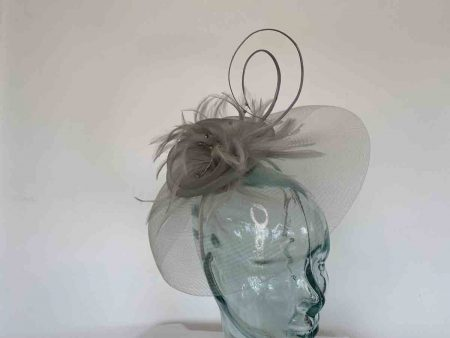 Looped netted fascinator almond silver