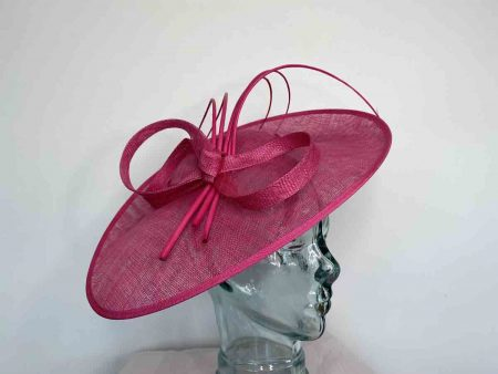 Oval hatinator with 5 quills in hot pink