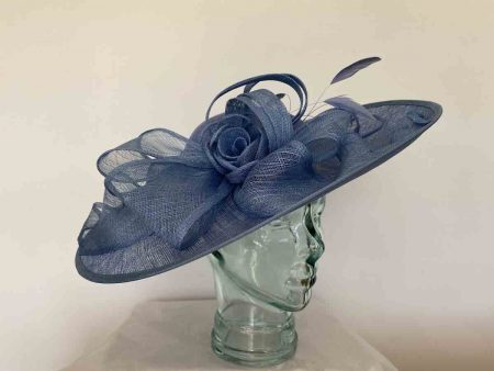 Large hatinator with sinamay loops in cornflower
