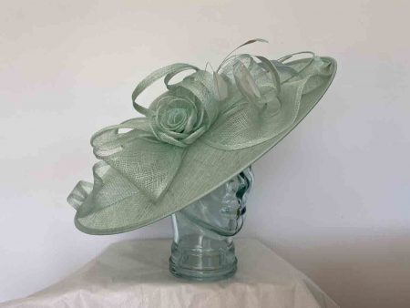 Large hatinator with sinamay loops in mint sorbet