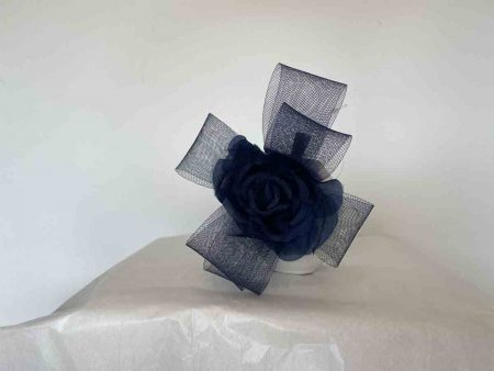 Flower  fascinator with crin loops in navy