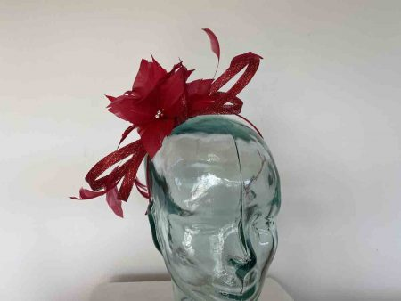 Sinamay looped fascinator with feathers flower in red