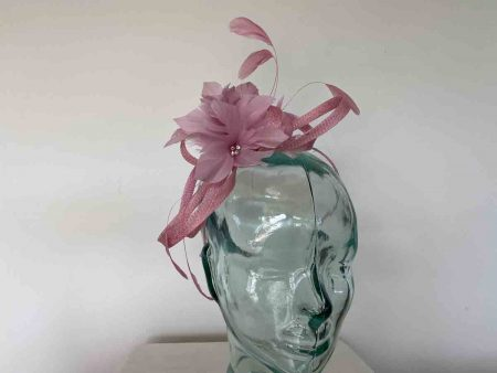 Sinamay looped fascinator with feathers flower in wild rose