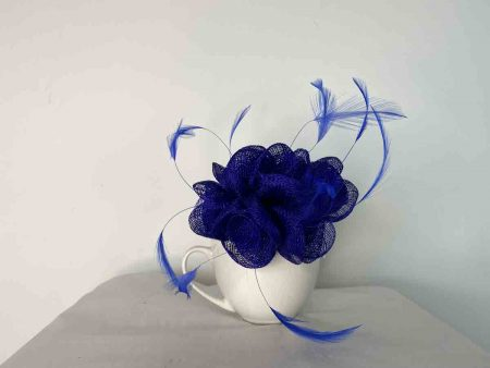 Small flowered sinamay fascinator cobalt blue