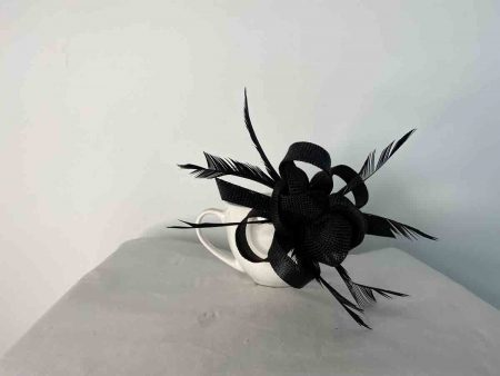 Sinamay fascinator with flower buds in black