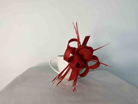 Sinamay fascinator with flower buds in red