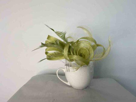 Sinamay flower fascinator lime