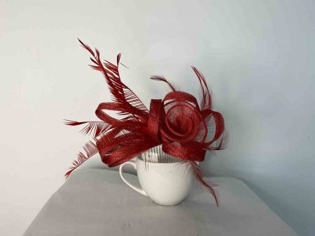 Sinamay flower fascinator red
