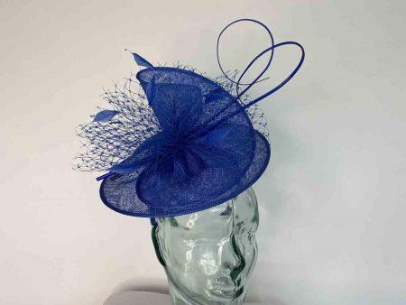 Sinamay swirl fascinator in neptune blue