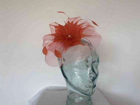 Crin fascinator with feathered flower in red