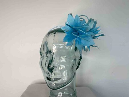 Satin fascinator with feathers flower in bright blue