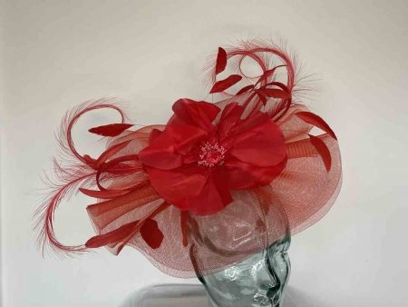 Stunning crin fascinator with flower in red